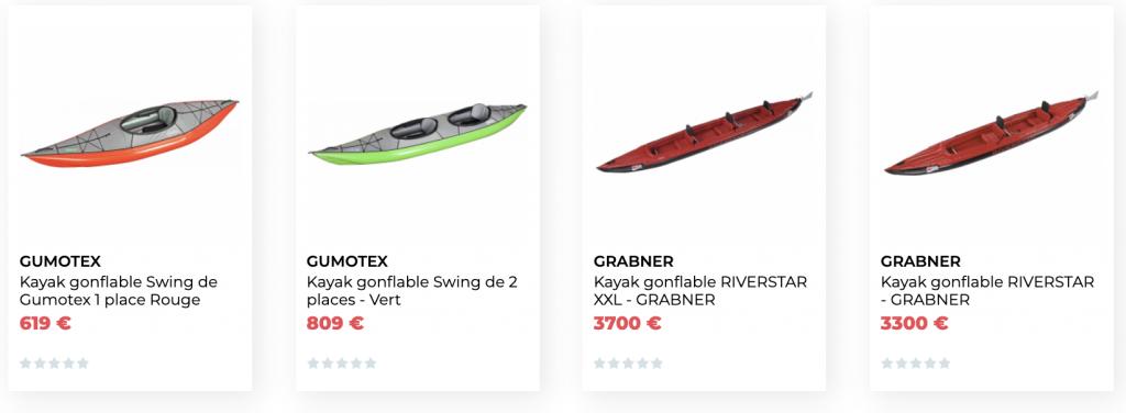 Achat kayaks gonflables et canoës pas chers, Gumotex